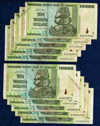 10 Trillion Zimbabwe Dollars x 10 Banknotes Authentic AA 2008 Lot = 100 Trillion