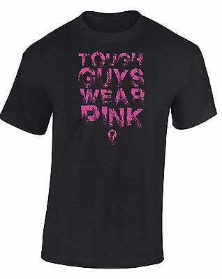Guy Support (Tough Guys Wear Pink T-SHIRT Fight Breast Cancer Awareness Faith Support)
