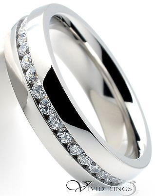 Mens Stainless Steel Wedding Band Eternity CZ Ring Men's 6MM - Size 11
