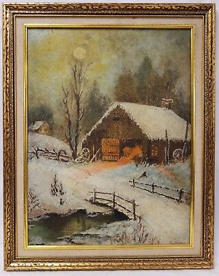 Antique Signed L. WALTER Oil Painting on Artist Board Horse in Barn Winter Scene