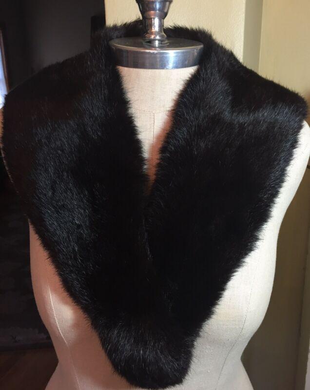 Vintage Mink Fur Shawl Collar Stole Scarf Wrap Black Satin Lined Holiday Retro
