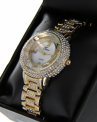 Women Luxury 14K Gold Finish Iced Out Watch Bracelet With Florating Crystals