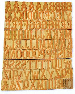 Vintage Letterpress Woodwooden Printing Type Block Typography 108 Pc 25mmlb135