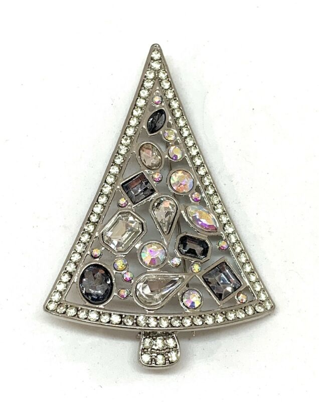 Vintage Unsigned Christmas Tree Pin Brooch w Clear Smoky & AB Stones
