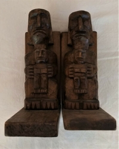 Hand Carved Tribal Pacific Island Book Ends - Primitive