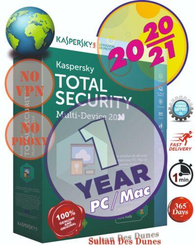 Antivirus Kaspersky Total Security 1 PC/Mac - 2020/2021 - World Wide - Instant