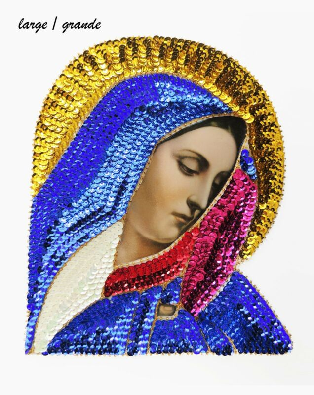 beautiful large colorful VIRGIN MARY, sequin applique patch