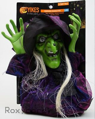 Halloween 6 ft Hanging Witch Light Up Eyes Spooky Sounds Decor Yikes In The Yard