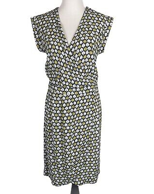 H&M Dress Size 14 Blue Yellow Floral Faux Wrap Sleeveless V Neck Dress Casual