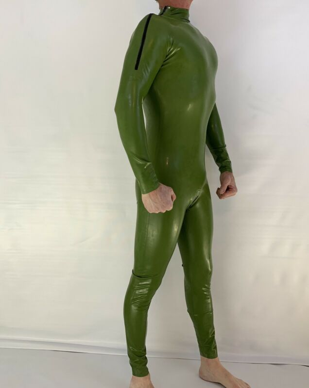 Catsuit Latex shoulder Zipper with Crotch Zipper Army Green 0.4 Mil 100% Latex