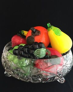 Vintage Murano blown glass fruit in crystal bowl