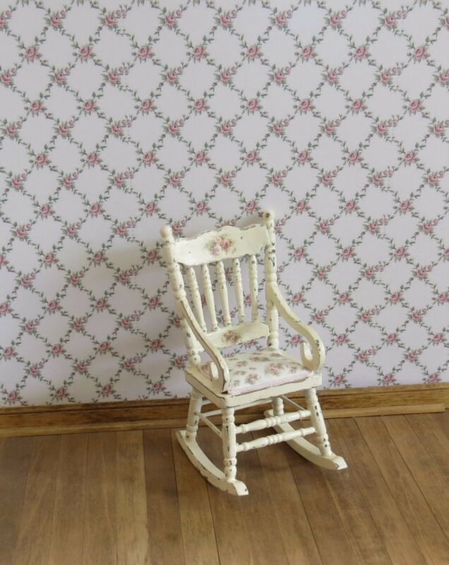 Dollhouse Miniature Shabby Chic Wallpaper White w Pink Roses Floral Flowers 1:12