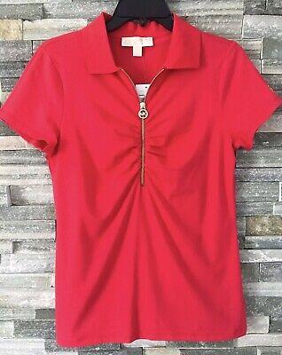 NEW Michael Kors MK Rushed Half Zip Polo T- Shirt Women's Red Size S