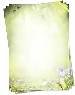 25 Blatt Motivpapier-5127 DIN A4 grün bunte Sommerwiese Briefpapier Sonne Natur