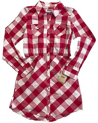 Levi's Girls Long Sleeve Dress Red and White Plaid