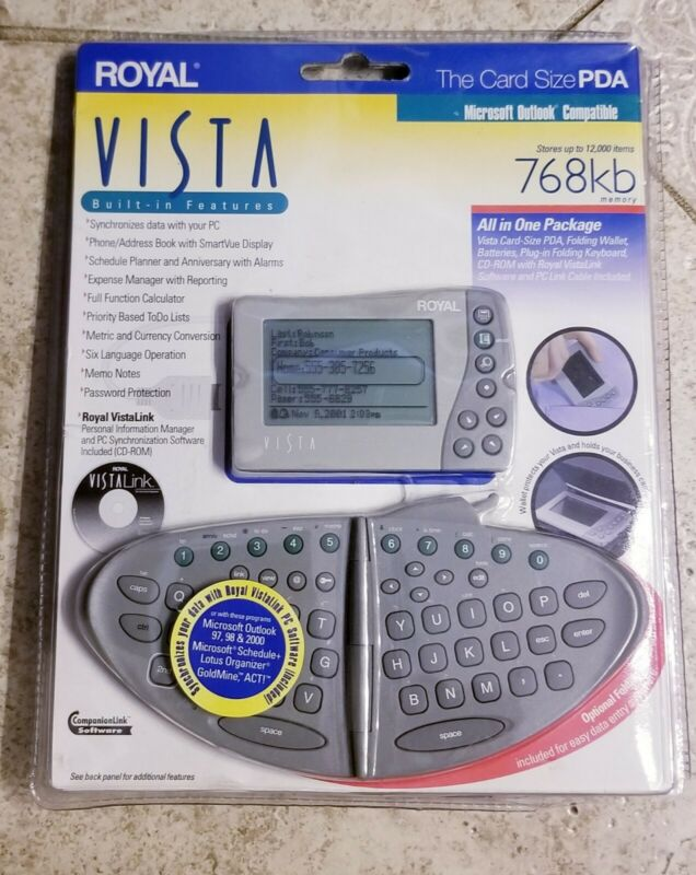 Royal Vista Card Size PDA Electronic Organizer w Detachable Keyboard ** NEW **