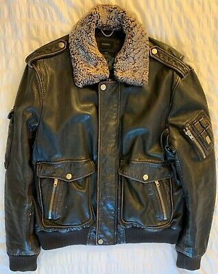 Diesel Leather Jacket Bomber L XL Removeable Fur Collar Natural Goat Leather