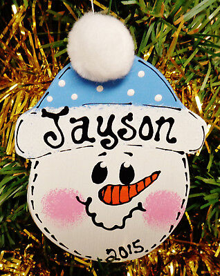 BLUE HAT SNOWMAN Ornament U CHOOSE NAME & YEAR Personalized Christmas Kids