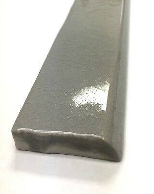 1.5x12 Bullnose Gray Crackled Ceramic Trim Molding Tile Wall Floor Accent Bath