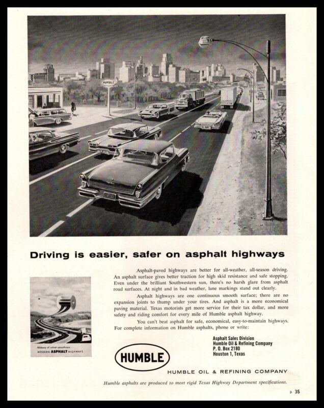 1958 Humble Oil & Refining Houston Texas Asphalt Sales Division Vintage Print Ad