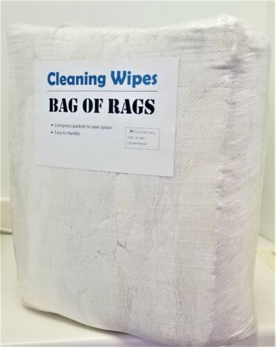WHITE KNIT SHOP CLEANING TOWELS WIPING RAGS/CLOTH - 25 LBS BAG- ~ 350 Pieces