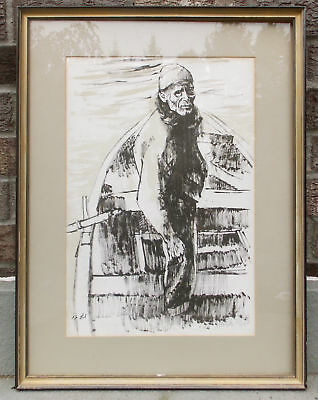 "MOSHE GAT COLOR LITHOGRAPH #43 ""FISHERMAN"" E/A ARTIST PROOF PENCIL SIGNED"