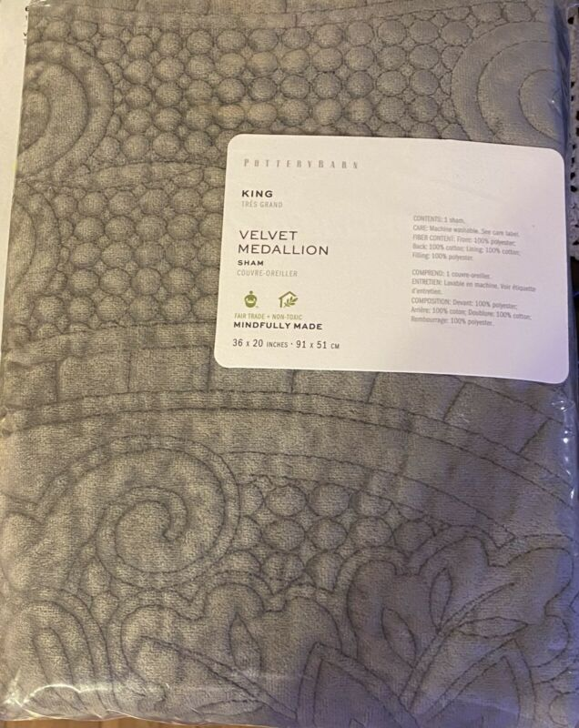 Pottery Barn Velvet Medallion Quilted Pillow Sham King Flagstone Gray NEW