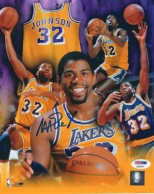 b3fcf59f2a46 Magic Johnson signed Lakers Basketball 8x10 Photo w PSA DNA COA Showtime