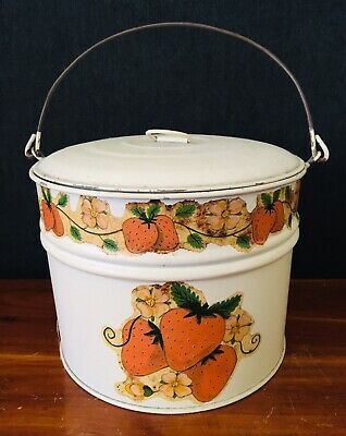 Vintage Metal Bucket With Lid  Strawberries Decoupage Children's Toy Or Garden](Metal Bucket With Lid)