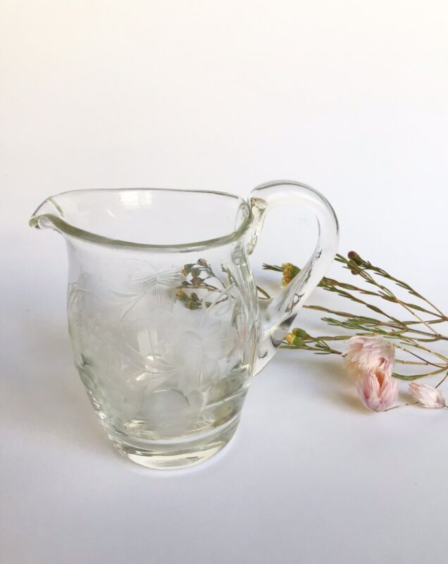 Antique Etched Clear Glass Small Jug