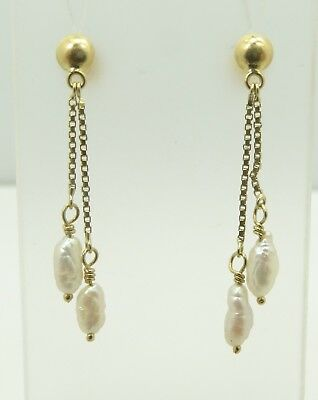 Elegant 18K Yellow Gold Box Chain Baroque Pearl Dangle Screw Back Earrings D6895