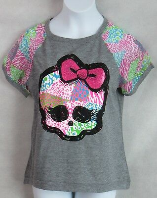 MONSTER HIGH Girls Gray Graphic Tee Skull Pink Bow Officially Licensed New](Monster High New Girls)