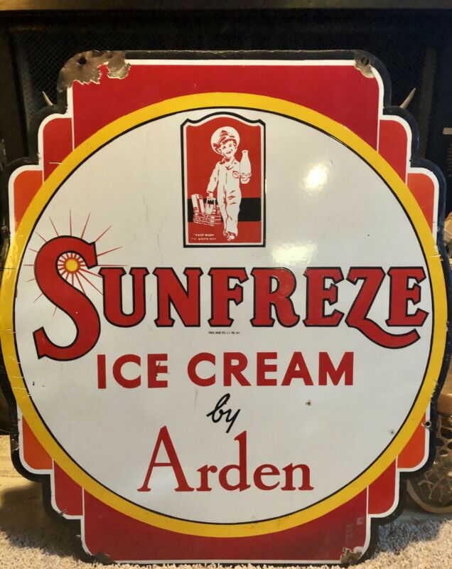 Vintage Arden Sunfreze Ice Cream Sign - Double Sided Porcelain