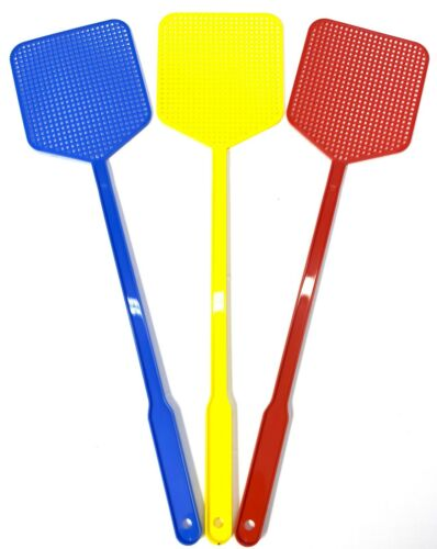 FLY SWATTER Plastic Bug Mosquito Insect Killer 3 Pack 3 Color Fly Swatter