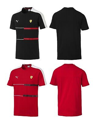 New Puma Scuderia Ferrari Men's Racing Car Fan SF T7 Logo Tee T- Shirt Black Red ()