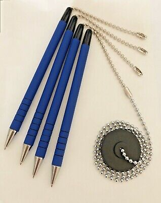 4- Blue Reception Counter Pen With Chain And Office Pen Holder Adhesive