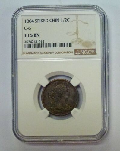 1804 Spiked Chin 1/2 cent C-6  NGC F 15 BN
