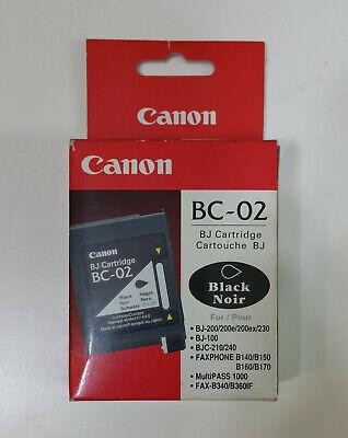 Genuine Canon BC-02 Black Ink Printer Cartridge BJ-100 BJ-200 BJC-200 NEW
