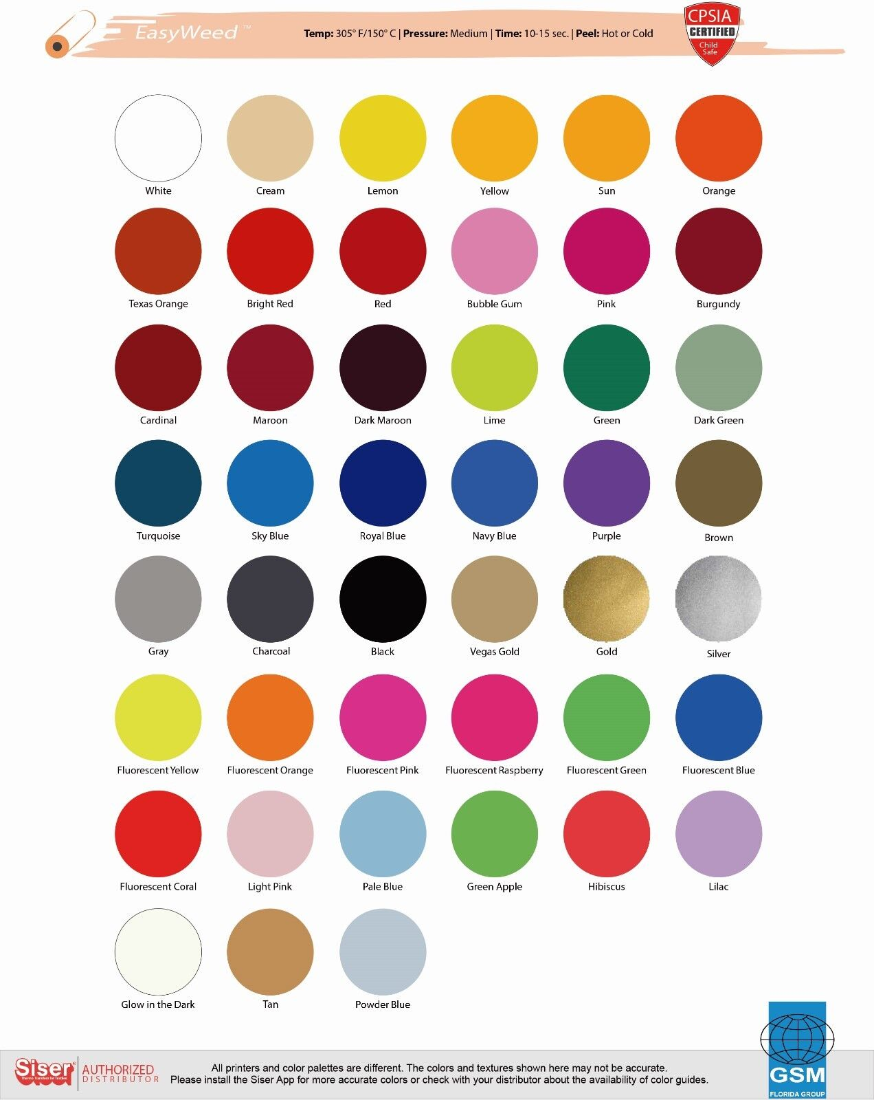 "MIX /& MATCH COLORS SISER EASYWEED HEAT TRANSFER VINYL 12/""x15/"" 1 FOOT"