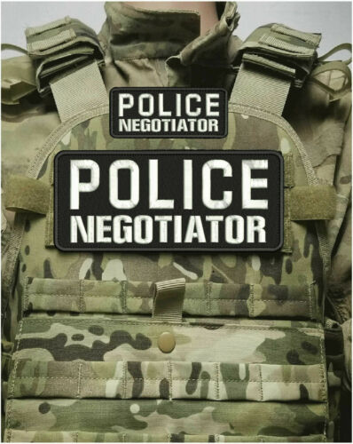 POLICE NEGOTIATOR EMBROIDERY PATCH 4X10 AND 2X5 HOOK ONBACK BLK/WHITE