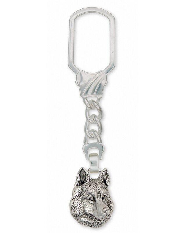 Siberian Husky Key Ring Jewelry Sterling Silver Handmade Dog Key Ring SB1-KRE