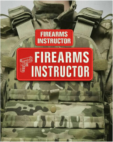 FIREARMS INSTRUCTOR EMBROIDERY PATCH 4X10 AND 2X5 HOOK ON BACK RED/WHITE