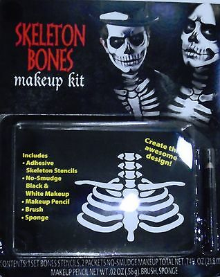 Skeleton Makeup Halloween Makeup (HALLOWEEN MAKEUP KIT – SKELETON RIB BONES with STENCILS & MAKEUP  –)