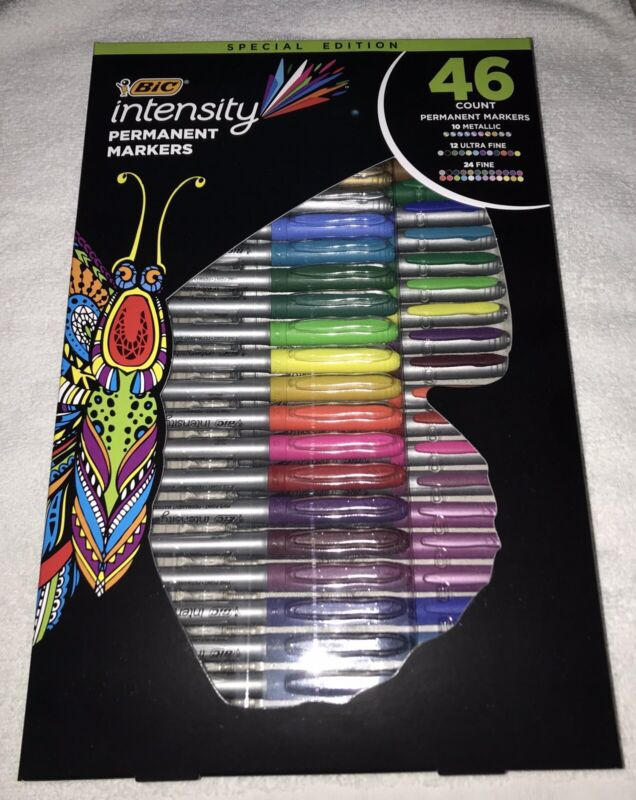 NEW - BIC INTENSITY PERMANENT MARKERS SPECIAL EDITION 46 COUNT ASSORTED COLORS