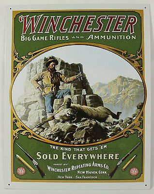 Winchester Big Game Rifle Metal Sign Hunting Gun Tin Reproduction Vintage Ad New