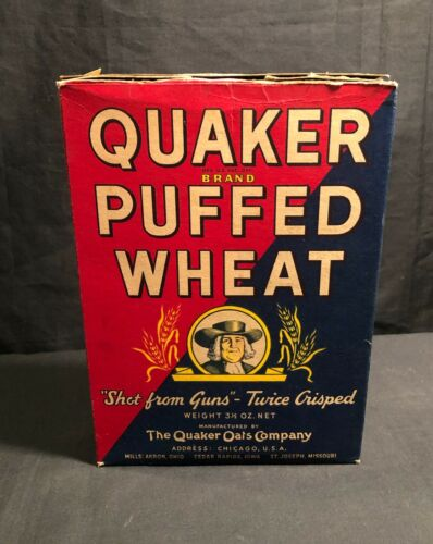 """Vintage Quaker Brand Puffed Wheat """"Shot from Guns"""" 3 1/2oz Cereal Box"""