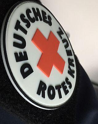 DRK Patch Abzeichen mit Klett Nachleuchtend! 8 cm Im Durchmesser