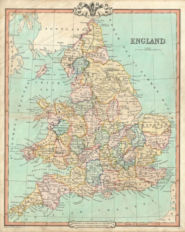 1850 Cruchley Map of England