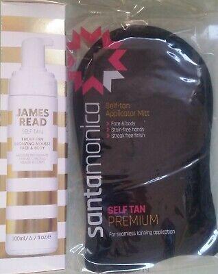 JAMES READ Self Tan 1 Hour Bronzing Mousse -Med/Dark (200ml) + Tanning Mitt