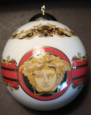 VERSACE-ROSENTHAL Porcelain Ball Ornament-MEDUSA-White/Red/Gold-original box-#4